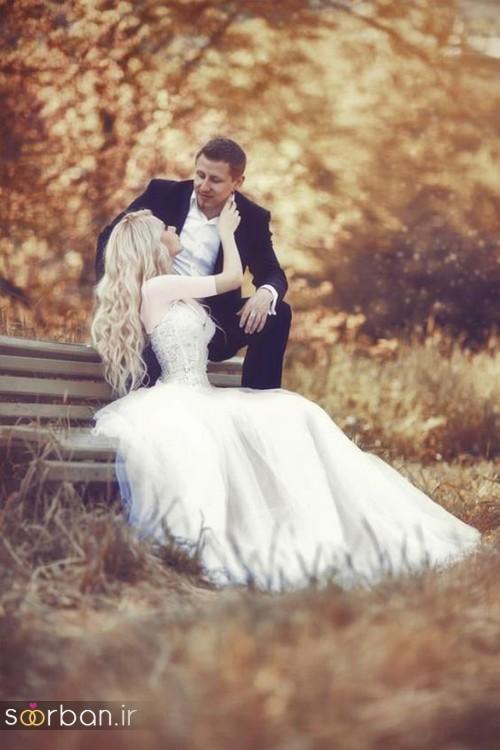 عکس عروس و داماد با  ژست های زیبا در باغ