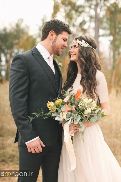 عکس عروس و داماد جدید با ژست های مختلف و زیبا-5