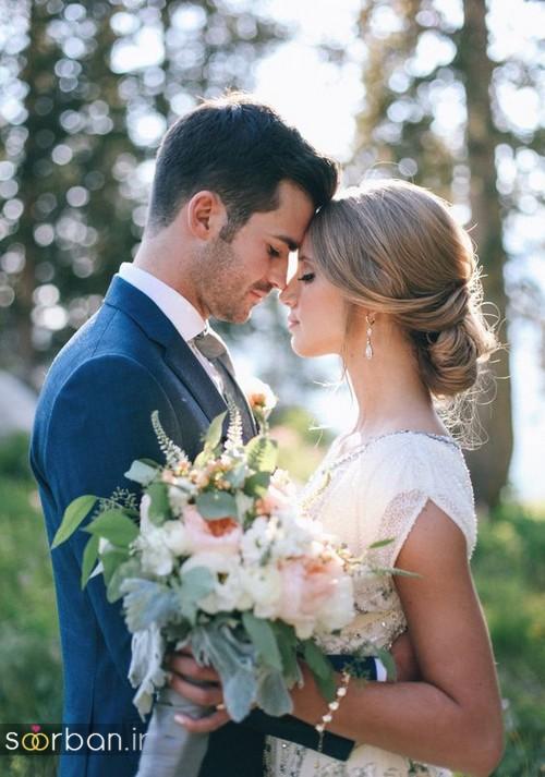 ژست رمانتیک و عاشقانه عروس وداماد