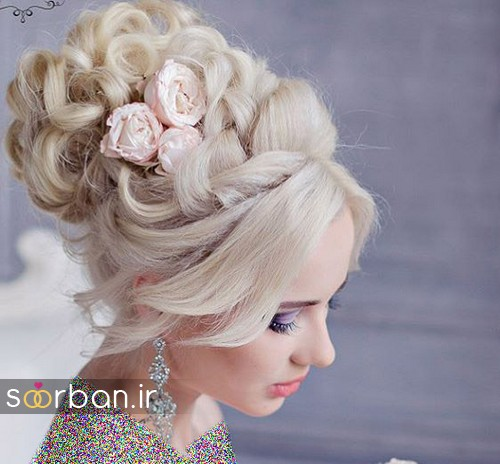 مدل مو عروس با گل طبیعی2
