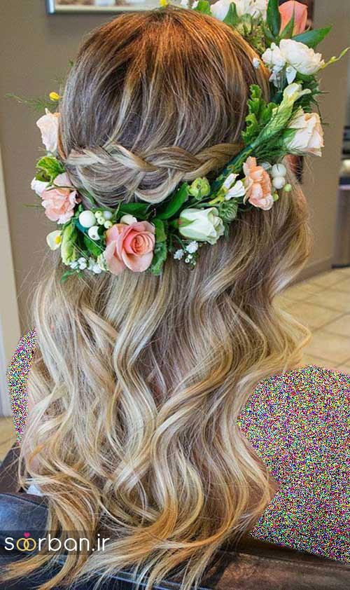 مدل مو عروس با گل طبیعی4