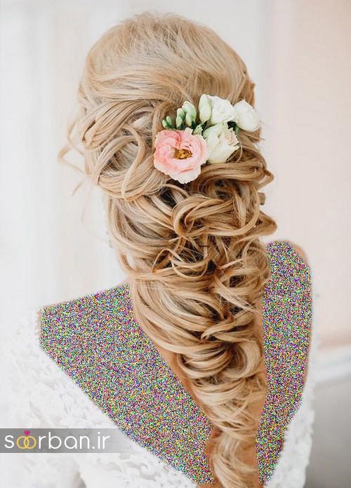 مدل مو عروس با گل طبیعی5