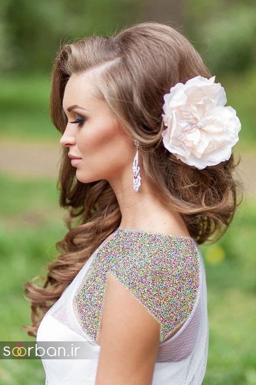 مدل مو عروس با گل طبیعی6