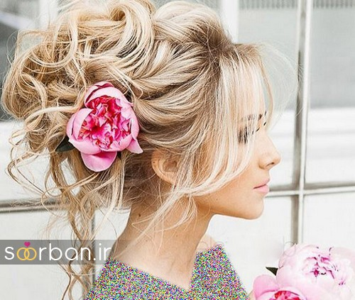 مدل مو عروس با گل طبیعی7
