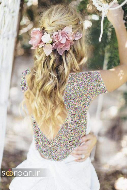 مدل مو عروس با گل طبیعی8