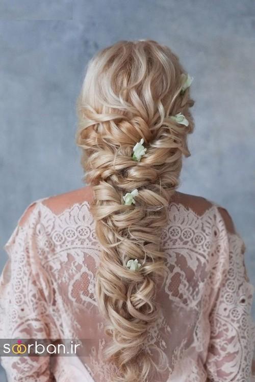مدل مو عروس با گل طبیعی9