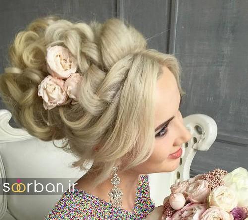مدل مو عروس با گل طبیعی11