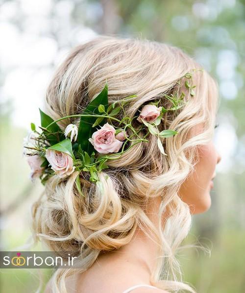 مدل مو عروس با گل طبیعی12