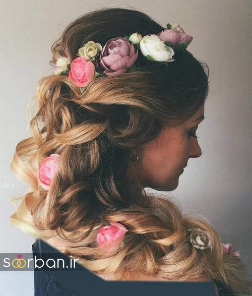 مدل مو عروس با گل طبیعی13