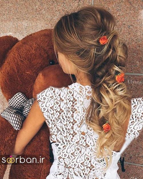 مدل مو عروس با گل طبیعی14