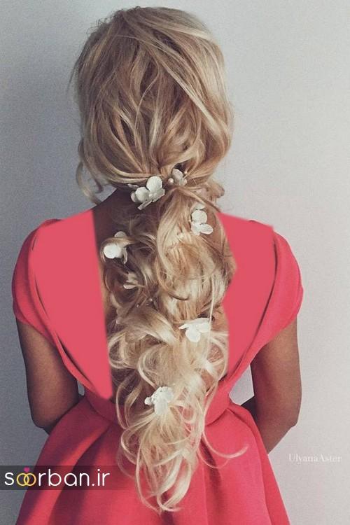 مدل مو عروس با گل طبیعی15
