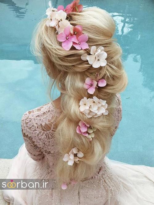 مدل مو عروس با گل طبیعی16