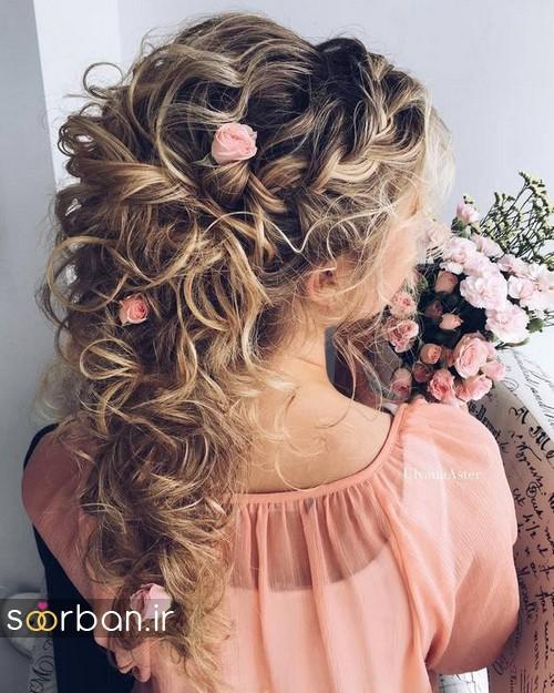 مدل مو عروس با گل طبیعی18