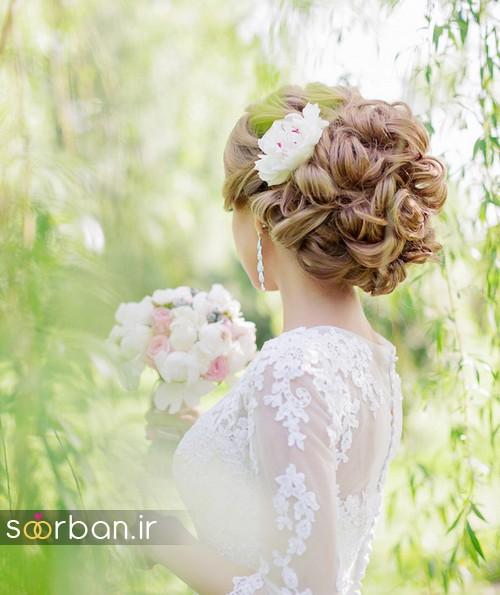 مدل مو عروس با گل طبیعی19