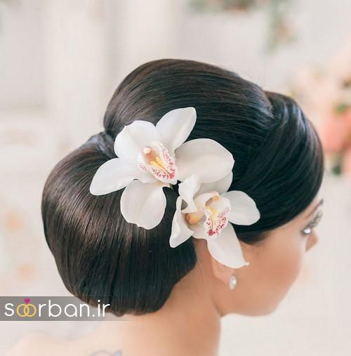مدل مو عروس با گل طبیعی20