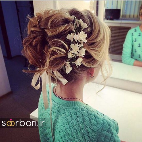 مدل مو عروس با گل طبیعی21