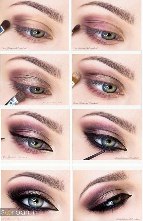 آموزش گام به گام زیباترین مدل های آرایش و سایه چشم مجلسی و عروس-6