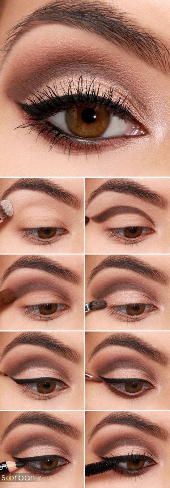 آموزش گام به گام زیباترین مدل های آرایش و سایه چشم مجلسی و عروس-11