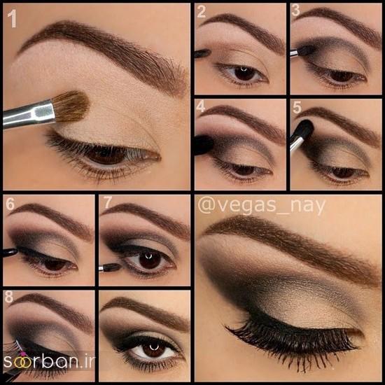 آموزش گام به گام زیباترین مدل های آرایش و سایه چشم مجلسی و عروس-13