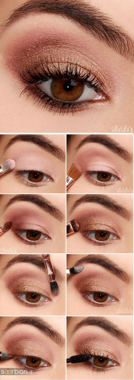 آموزش گام به گام زیباترین مدل های آرایش و سایه چشم مجلسی و عروس-17