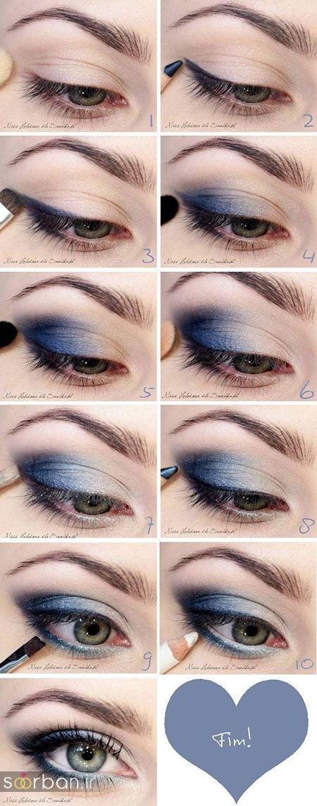 آموزش گام به گام زیباترین مدل های آرایش و سایه چشم مجلسی و عروس-19