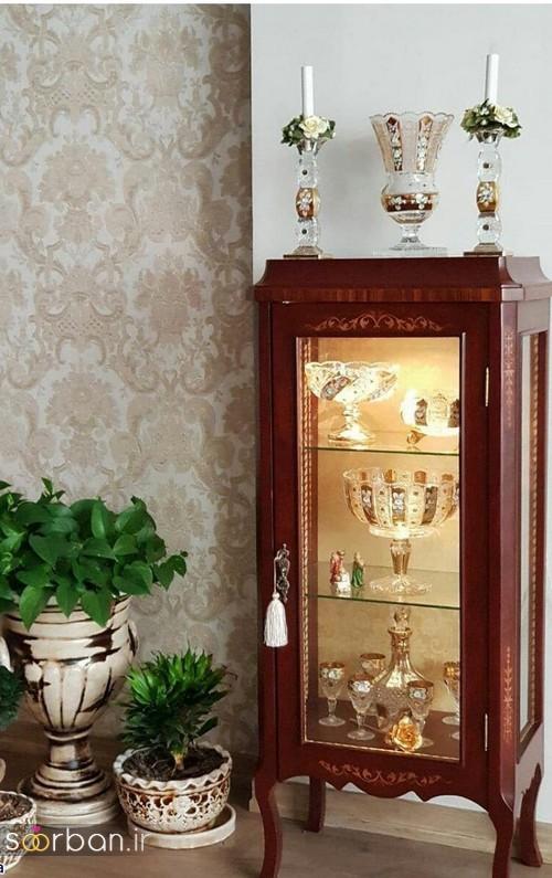 تزیین ظروف داخل بوفه و ویترین پذیرایی جهیزیه عروس -1