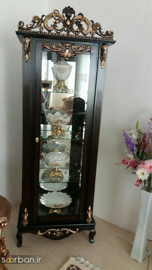 تزیین ظروف داخل بوفه و ویترین پذیرایی جهیزیه عروس -5