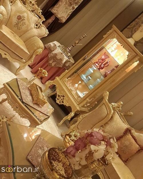 تزیین ظروف داخل بوفه و ویترین پذیرایی جهیزیه عروس -3