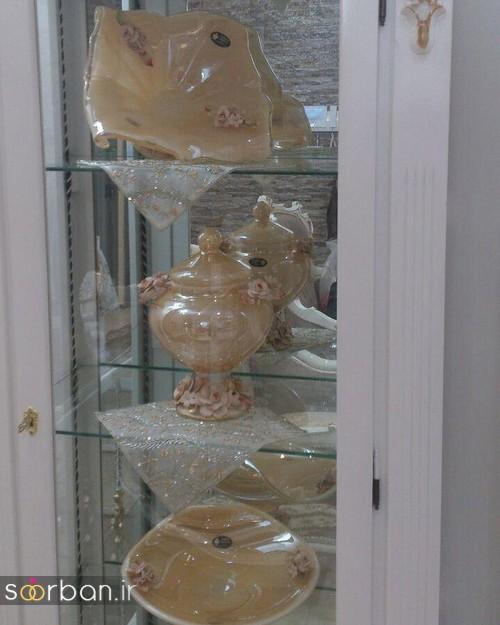 تزیین ظروف داخل بوفه و ویترین پذیرایی جهیزیه عروس -10