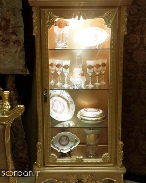 تزیین ظروف داخل بوفه و ویترین پذیرایی جهیزیه عروس -11
