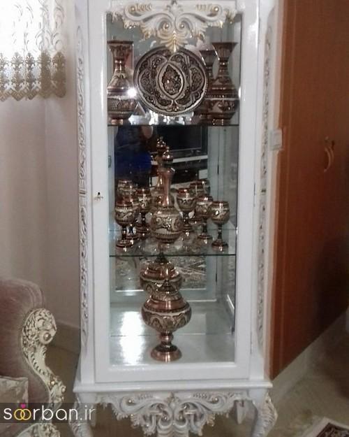 تزیین ظروف داخل بوفه و ویترین پذیرایی جهیزیه عروس -12