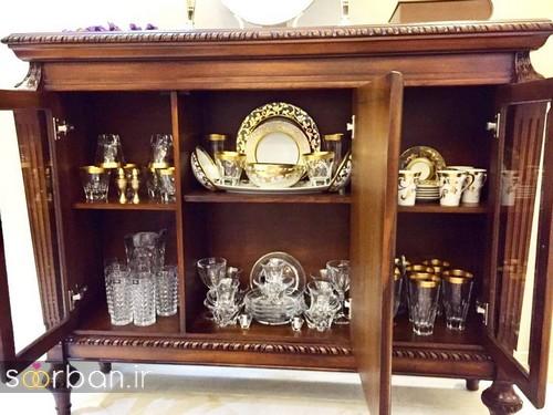 تزیین ظروف داخل بوفه و ویترین پذیرایی جهیزیه عروس -14
