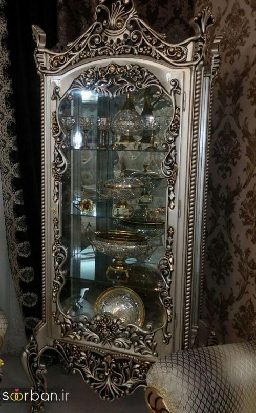 تزیین ظروف داخل بوفه و ویترین پذیرایی جهیزیه عروس -17