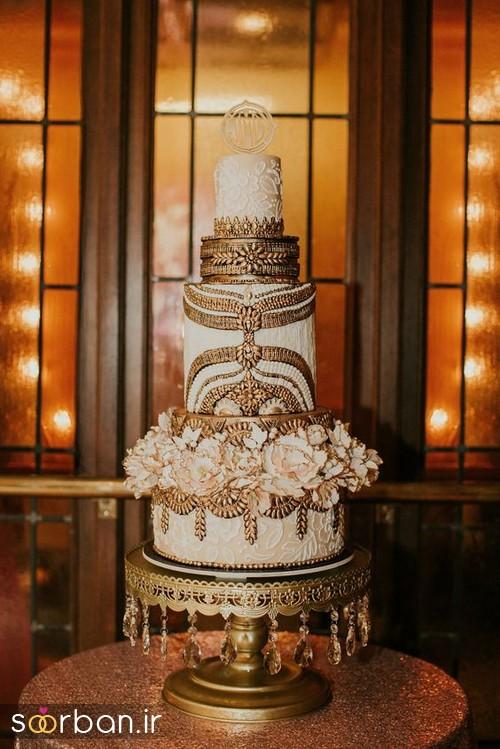 کیک عروسی طلایی 3