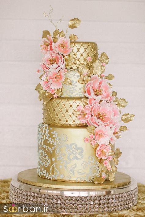 دسته گل عروس پارچه کیک عروسی طلایی 5
