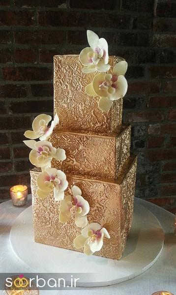 کیک عروسی طلایی 6