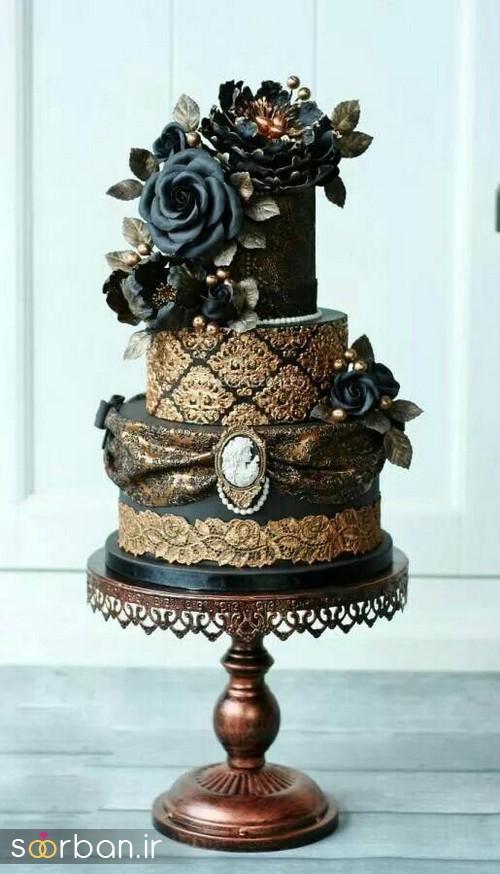 کیک عروسی طلایی 7