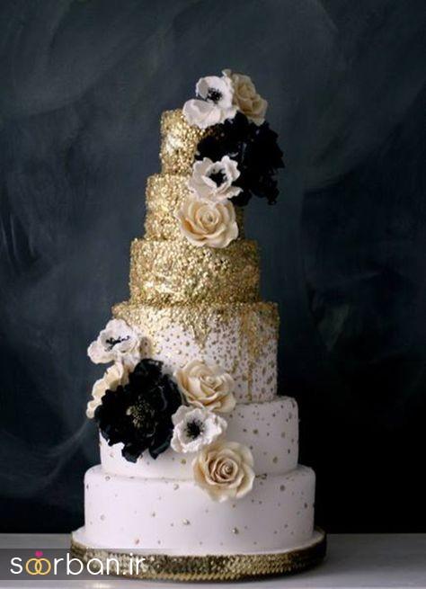 کیک عروسی طلایی 8