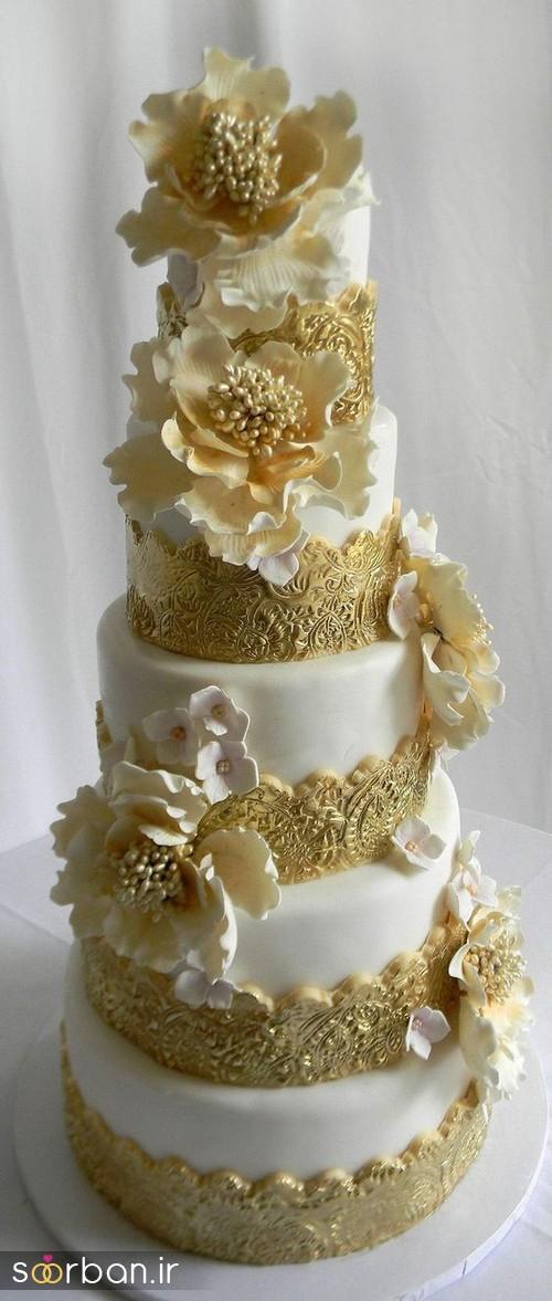 کیک عروسی طلایی 9