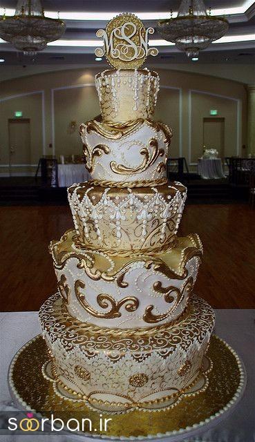 کیک عروسی طلایی 11
