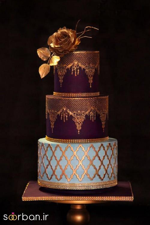 کیک عروسی طلایی 14