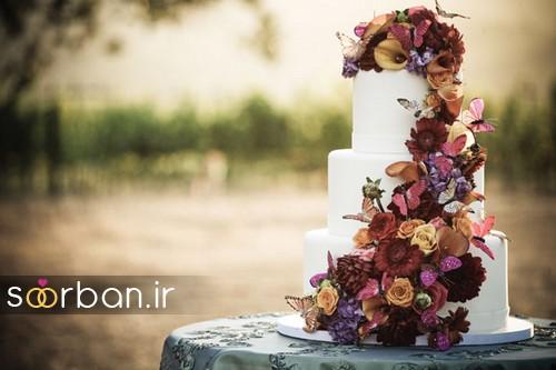 دسته گل عروس پارچه کیک عروسی پاییزی 5