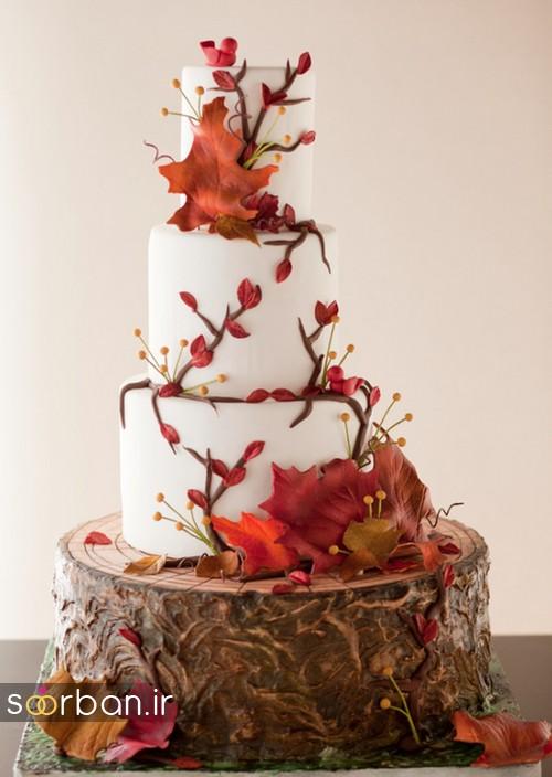 دسته گل عروس پارچه کیک عروسی پاییزی 19