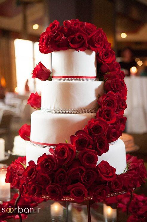 کیک عروسی با تزیین گل رز7