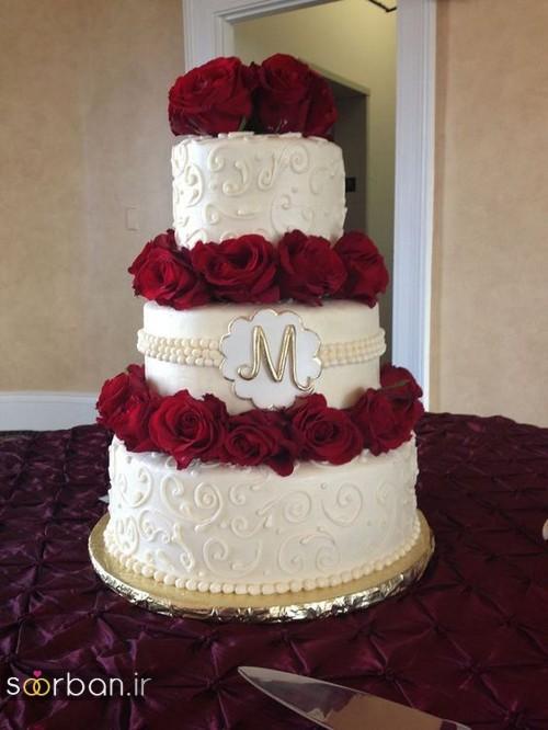 کیک عروسی با تزیین گل رز09