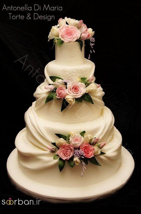 کیک عروسی با تزیین گل رز10