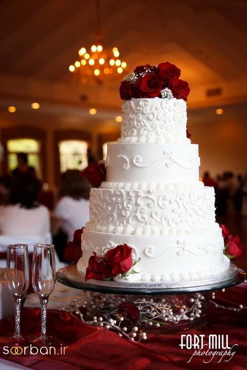 کیک عروسی با تزیین گل رز11