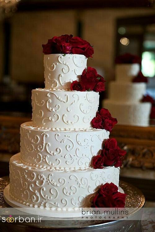 کیک عروسی با تزیین گل رز12