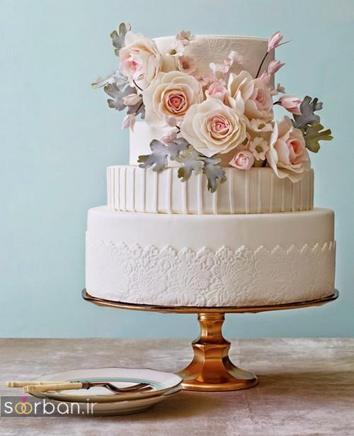کیک عروسی با تزیین گل رز14