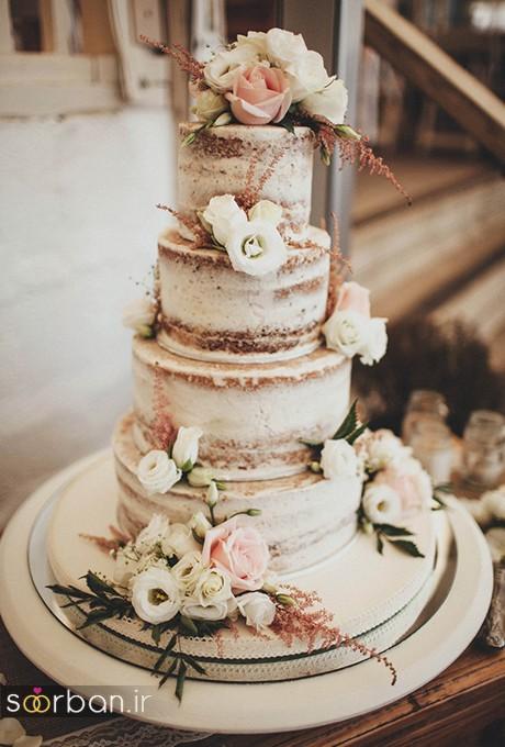 کیک عروسی با تزیین گل رز15